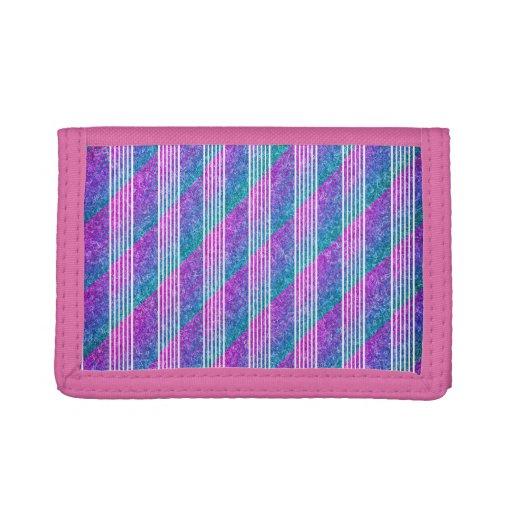 Girly Diagonal Stripes Tri-fold Wallets