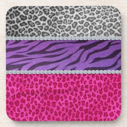 Girly Diamond Animal Print Coaster
