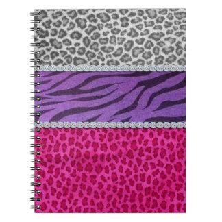 Girly Diamond Animal Print Notebook