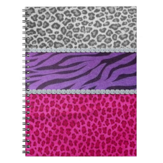 Girly Diamond Animal Print Spiral Notebooks