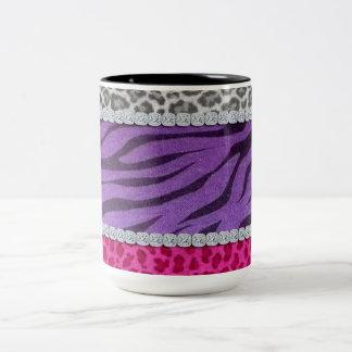 Girly Diamond Animal Print Two-Tone Coffee Mug