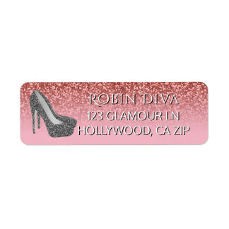 Girly Diva Pink Glitter | Glam High Heel Shoes Label