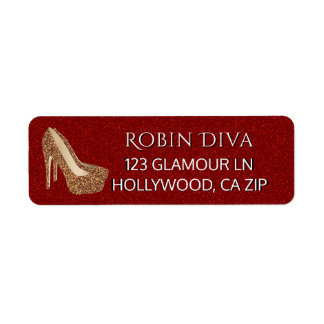 Girly Diva Red Glitter | Glam Gold High Heel Shoes Label