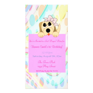 Girly Dog with Bow 1st Birthday Sign Photo Card