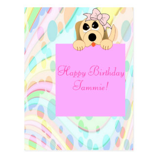 Girly Dog with Bow 1st Birthday Sign Postcard