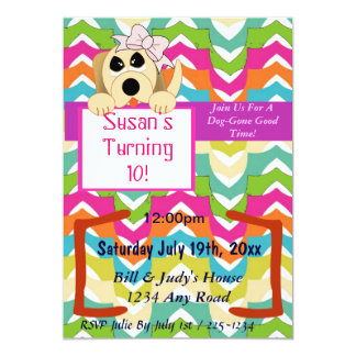 Girly Dog with Bow & Birthday Banner Card