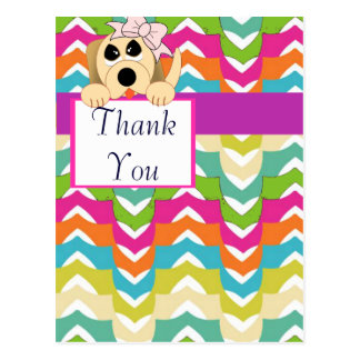 Girly Dog with Bow & Birthday Banner Postcard