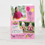 """Girly Doodles Custom Photo Birthday Card<br><div class=""""desc"""">All photography is displayed as a sample only and is not for resale. This product is only intended to be purchased once sample photos are replaced with your own images.</div>"""