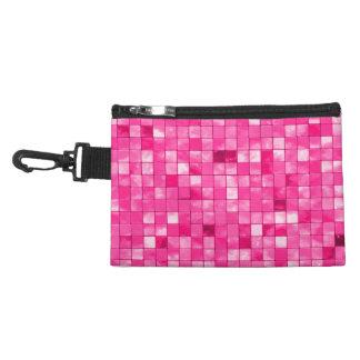 Girly Duo-tone Fuchsia Geometric Decorative Tile Accessory Bags