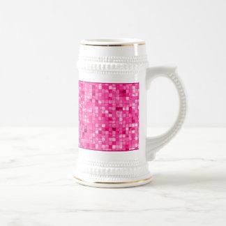 Girly Duo-tone Fuchsia Geometric Decorative Tile Beer Stein