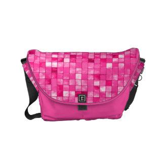 Girly Duo-tone Fuchsia Geometric Decorative Tile Small Messenger Bag