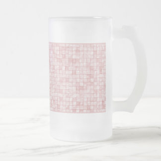 Girly Duo-tone Pink Geometric Decorative Tile Frosted Glass Beer Mug