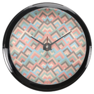 Girly Earth Zigzag Symmetric Peeks Pattern Aquavista Clock