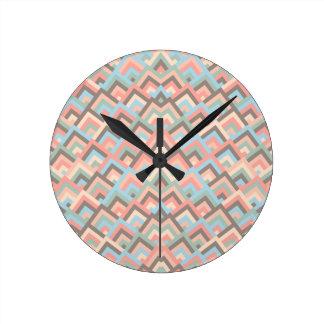 Girly Earth Zigzag Symmetric Peeks Pattern Round Clocks