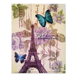 girly eiffel tower floral vintage birthday party card