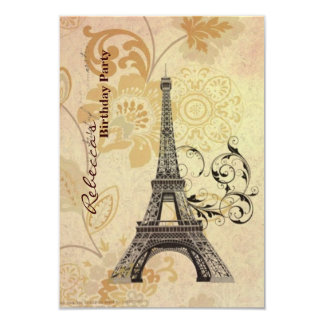 girly eiffel tower floral vintage birthday party 3.5x5 paper invitation card