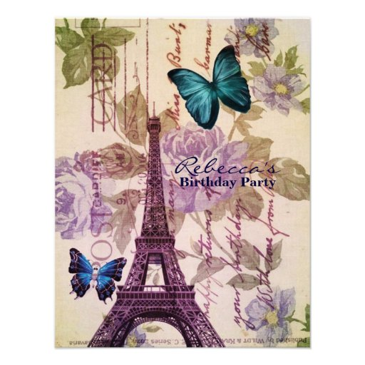 girly eiffel tower floral vintage birthday party announcement