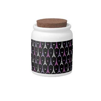 Girly Eiffel Tower pattern in black Candy Jars