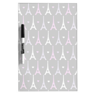 Girly Eiffel Tower pattern in black Dry-Erase Board