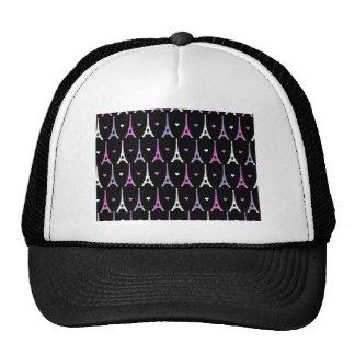 Girly Eiffel Tower pattern in black Trucker Hat