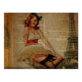 girly eiffel tower sailor vintage paris postcard