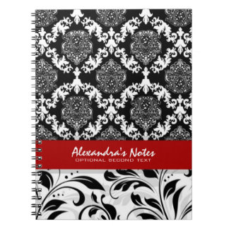 Girly Elegant Black And White Floral Damasks 2 Notebook