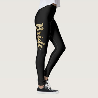 Girly Elegant Chic Faux Gold and Black Bride Leggings