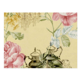 Girly elegant floral fashion vintage Paris Postcard