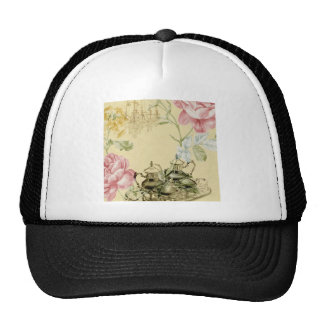 Girly elegant floral fashion vintage Paris Trucker Hat