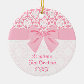 Girly Elegant Pink Damask Wrap Bow First Christmas Ceramic Ornament