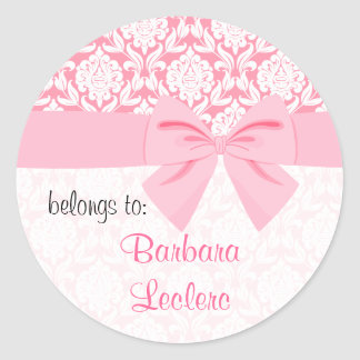 Girly Elegant Pink Damask Wrap Bow Personalized Classic Round Sticker