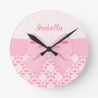 Girly Elegant Pink Damask Wrap Bow Personalized Round Wall Clocks