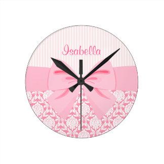 Girly Elegant Pink Damask Wrap Bow Personalized Round Wall Clocks