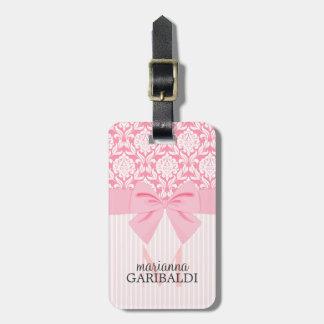 Girly Elegant Pink Damask Wrap Bow Personalized Bag Tag