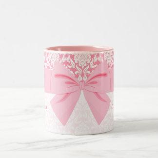 Girly Elegant Pink Damask Wrap Bow Personalized Two-Tone Coffee Mug