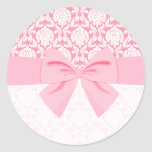 Girly Elegant Pink Damask Wrap Bow Stickers
