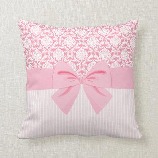 Girly Elegant Pink Damask Wrap Bow Throw Pillows