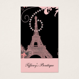 girly elegant pink eiffel tower paris vintage business card