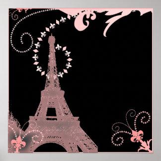 girly elegant pink eiffel tower paris vintage poster