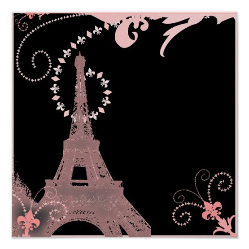 girly elegant pink eiffel tower paris vintage posters