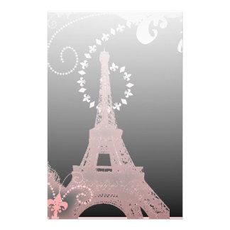 girly elegant pink eiffel tower paris vintage stationery