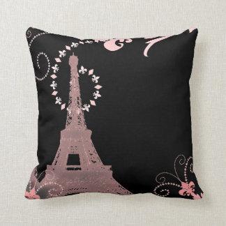 girly elegant pink eiffel tower paris vintage throw pillow