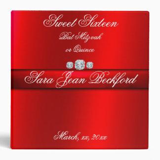 Girly, Elegant Red Sweet Sixteen, Photo album 3 Ring Binder