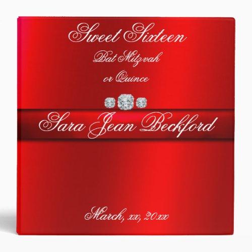 Girly Elegant Red Sweet Sixteen Photo album 3 Ring Binder