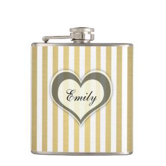 Girly elegant stripes golden heart personalized flask