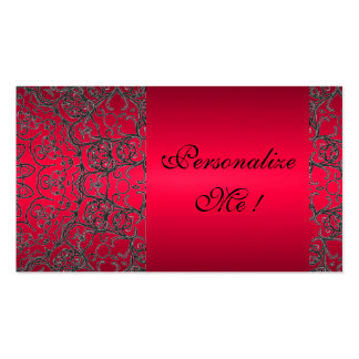 Girly Elegant Trendy Red Black Modern Lace Initial Business Card Template