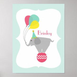 Girly Elephant + Balloons Nursery Artwork Poster