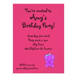 Girly elephant birthday invitation
