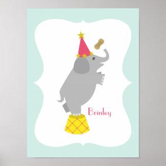 Girly Elephant Personalized Nursery Artwork Poster