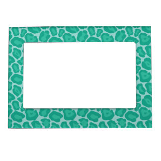 Girly Emerald Leopard Pattern Magnetic Photo Frame